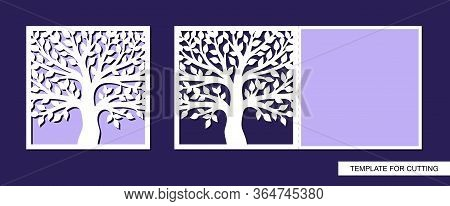 Greeting Card Folding In Half With A Tree And Leaves. Spring And Summer Theme Of Nature. Place For T