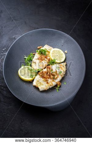 Fried calamari tubes in breadcrumbs breading with lemon slices and herbs offered as closeup on a modern design plate