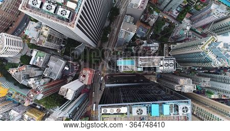 City Top View Of Skyscrapers Building By Drone Hong Kong City - Aerial View Cityscape Flying Above H