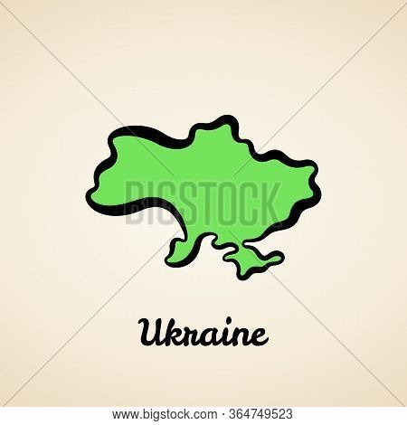 Green Simplified Map Of Ukraine With Black Outline.