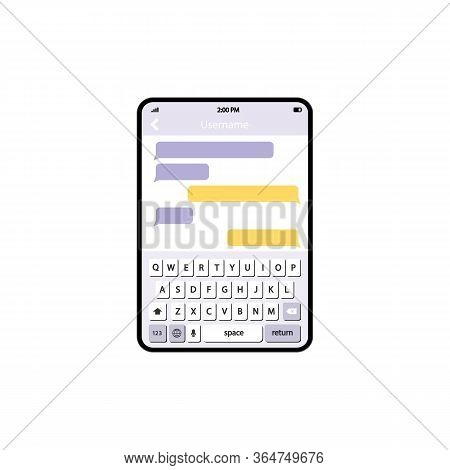 Phone Message Template. Social Network Messenger Page Template. Message Chat Bubbles Vector Icons Fo