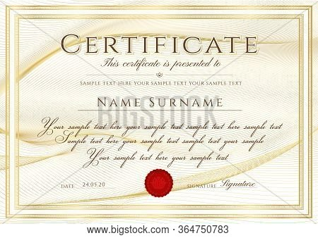 Certificate Template With Guilloche Pattern (lines), Golden Frame Border And Red Wax Seal. Gold Back