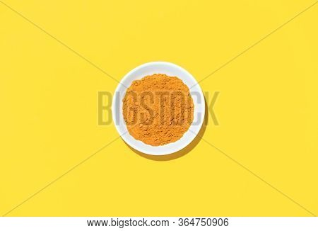 Turmeric Powder In A Bowl, View From Above