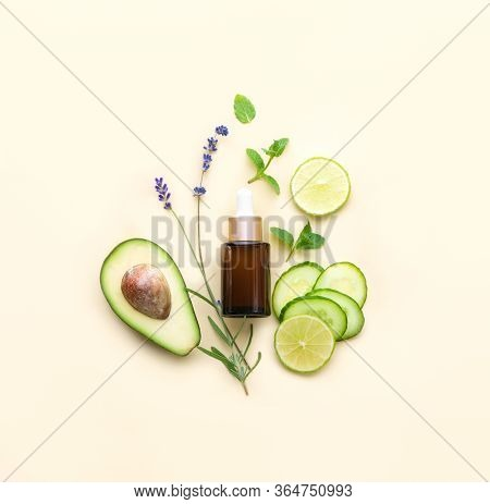 Natural Cosmetics Concept, Fresh Healing Herbs And Other Natural Ingredients For Alternative Cosmeti
