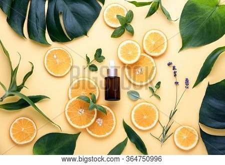 Natural Cosmetics Concept, Fresh Ingredients For Skin Treatment Vitamin C Serum, Flat Lay