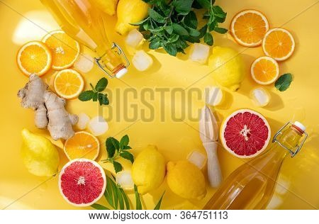 Summer Lemonade, Cocktail Or Another Drink Background With Ingredients, Top-down View, Blank Space F