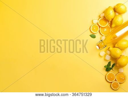 Summer Homemade Lemonade Ingredients Overhead View, Background With Copy Space For A Text, Culinary