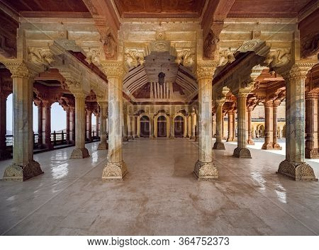 Jaipur, India - 03 03 2012: A Colonnade In The In The Amber Fort Or Amer Fort, A Unesco World Herita