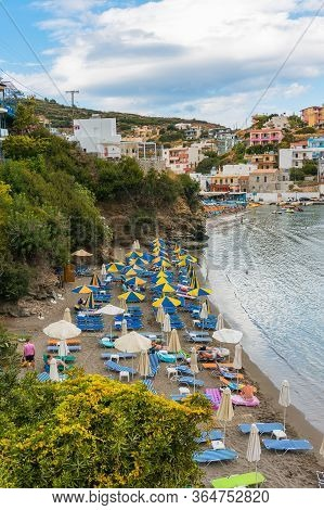Bali, Crete, Greece - October 7, 2019: Cozy Bay Of The Warm Sea Of The Popular Resort Of Crete With