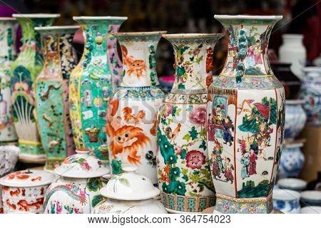 Porcelain At The Panjiayuan Antique Market In Beijing, China