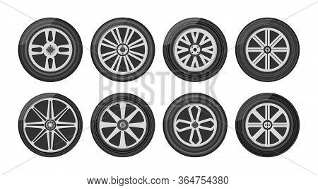 Set Of Car Wheels Icon. A Wheel Tyre For The Car And The Motorcycle And The Truck And The Suv. Round