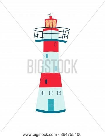 Lighthouse Isolated On A White Background In Flat Style. Searchlight Towers For Maritime Navigationa