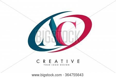 Green And Pink Ac A C Letters Logo With Swooshes Design. Alphabet Initials And Abstract Vector Illus