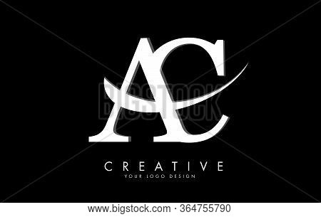 Ac A C Letters Logo With White Swoosh And Black Background. Vector Illustration With Letters A And C
