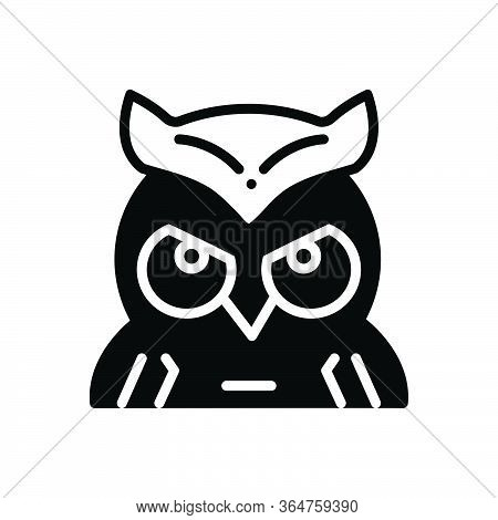 Black Solid Icon For Owl Education Wisdom
