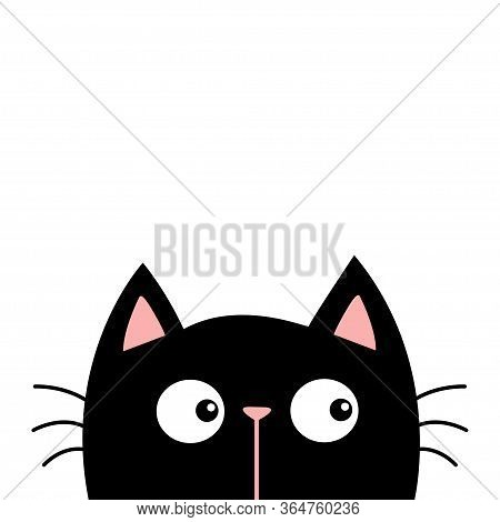 Black Kitten Cat Head Face. Kawaii Baby Pet Animal. Cute Cartoon Character. Pink Ears, Nose. Scandin