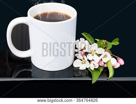 White Coffee Cup With Cherry Blossoms On A Glossy Black Background In This Styled Product Photo Mock