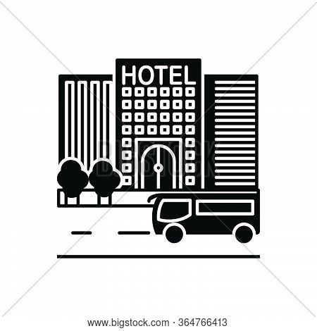 Black Solid Icon For Hotel Travling Check-in Building Hotel-building