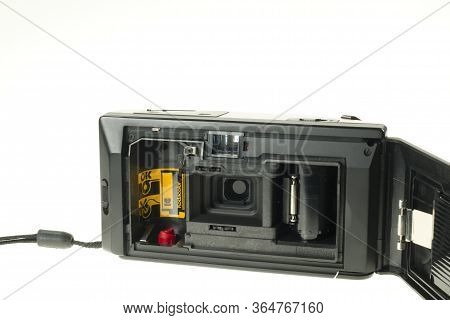 Istanbul, Turkey - July 9, 2014 : Rear And Inside View Of A Kodak S Series Compact Analogue Photogra
