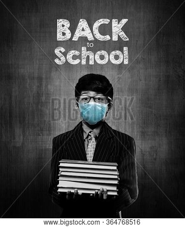Back To School - Little School Kids Wearing Surgical Mask For Safety And Protection During Pandemic
