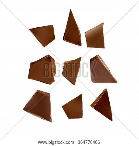 Chocolate Pieces Pattern. Chocolate Chunks   Isolated On White Background. Flat Lay