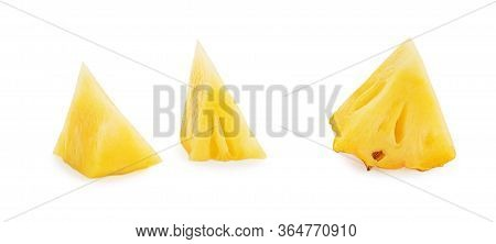 Fresh Sliced Pineapple Isolated On White Background. Pineapple Chunks Close Up. Collection