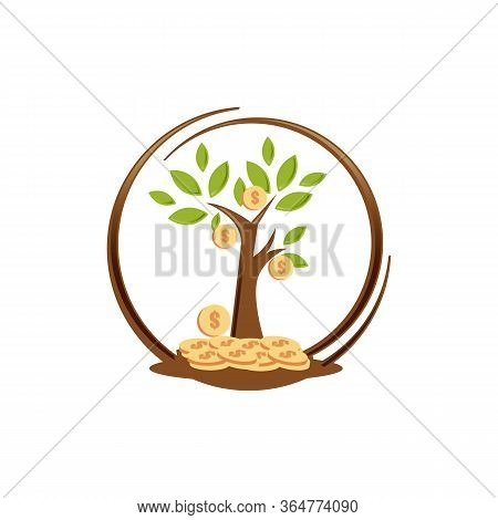 Illustration Design Of Money Tree Isolated White Background. Flat Design Of Money Tree. Vector Illus