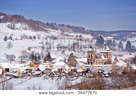 Village And Fortified Church In Transylvania Romania