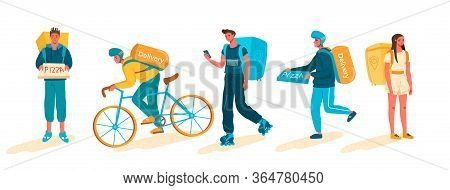 Set Of Delivery People,delivery Service During Covid 19 Pandemic. Delivery Service Concept, Online O