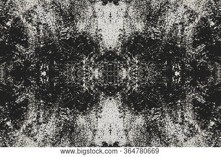 Sketch For Ceramic Tiles. White Symmetric Pattern On A Black Background. Seamless.