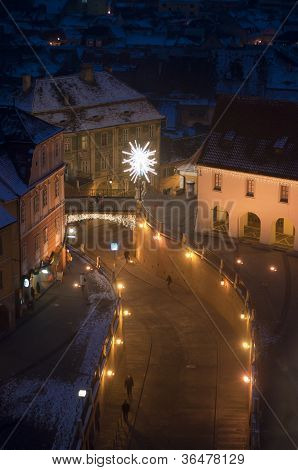 Christmas Decoration In Sibiu