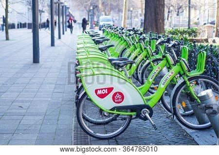 Budapest, Hungary - April 2020: Bubi Mol Rent A Bike Station In Budapest, Hungary