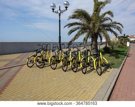 April 16, 2020 Russia. Sochi // Bicycle Rental On The Promenade Of Sochi