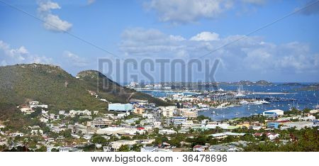 panorama of Marigot Bay in St Martin, caribbean
