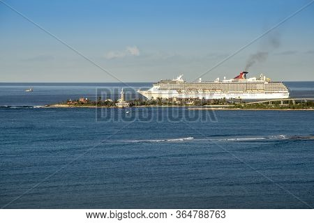 Nassau, Bahamas - March 1, 2018:  Carnival Cruise Lines Ship, The Carnival Pride, Sails From The Por