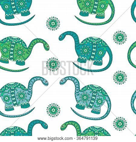 Vector Colored Dinosaurs Seamless Pattern On A White Background For Your Creativity.