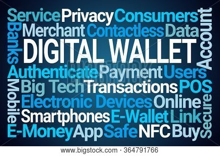 Digital Wallet Word Cloud on Blue Background