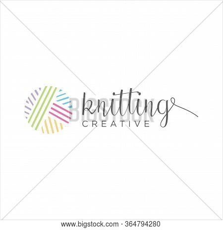 Crochet, Knitting Logo Design, Tailor, Sewing, Needle, Yarn For Handmade Handicraft Logo Colorful De