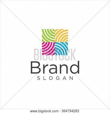 Square Crochet, Knitting Logo Design, Tailor, Sewing, Needle, Yarn For Handmade Handicraft Logo Colo