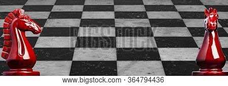 Image Of A Wooden Chess Knights In Red With Marble Checkerboard Background