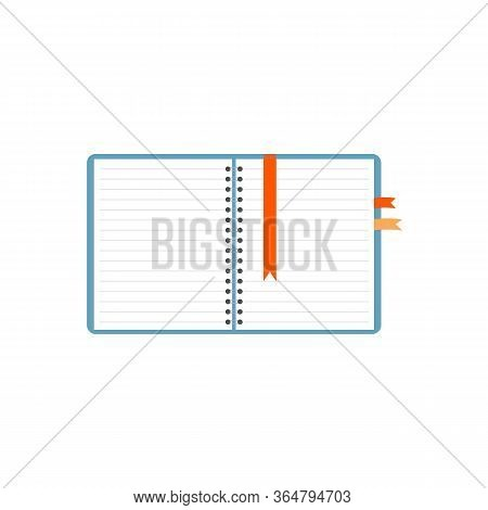 Vector Realistic Opened Notebook. Vertical Blank Copybook With Metallic Silver Spiral. Template Mock
