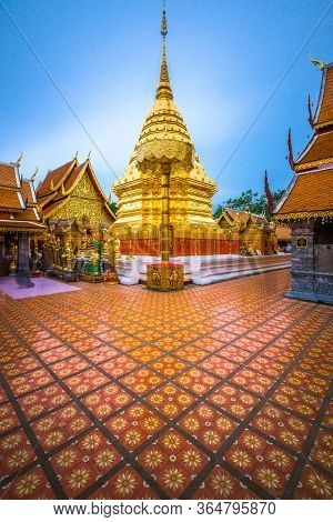 Wat Phra That Doi Suthep Temple of Chiang Mai, Thailand at dusk.
