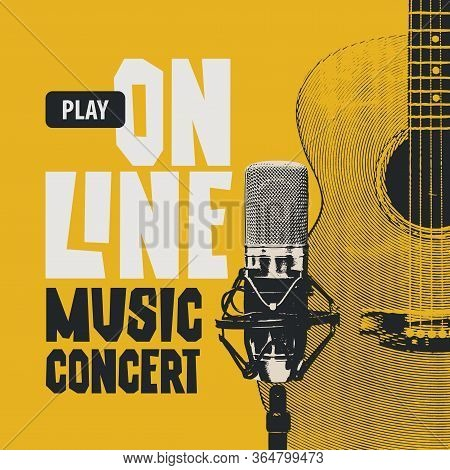 Vector Poster For An Online Music Concert With A Guitar And Studio Microphone On A Yellow Background