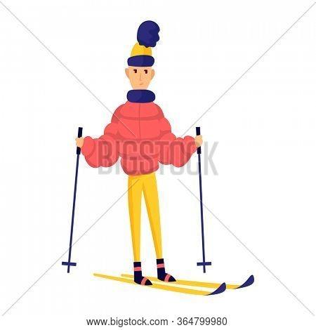 men skier. Male skiing design element isolated on white background. Winter sportsman on ski resort. Winter sport activity. Skier stands on skis