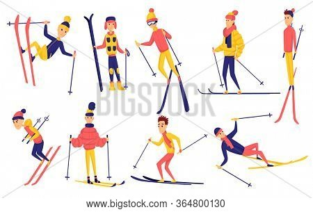 set of skiers. Winter sportsman in different poses on ski resort. Men in the ski resort. Winter sport activity. Male skiing design elements. Skier jump, stand, fell, ride