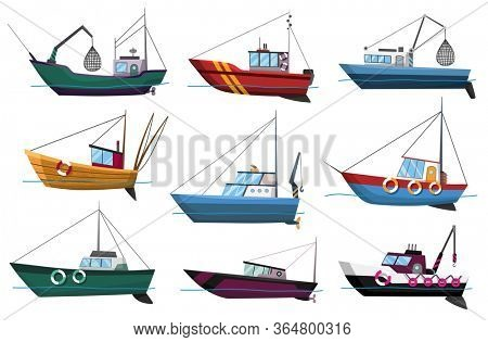 Collection of fishing boats side view isolated on white background. Commercial fishing trawlers for industrial seafood production  illustration. Sea fishing, ships marine industry, fish boats