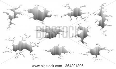 Collection of earthquake cracks. Hole effect and cracked surface. Holes in ground with cracking and earth destruction cracks isolated  cartoon.  illustration