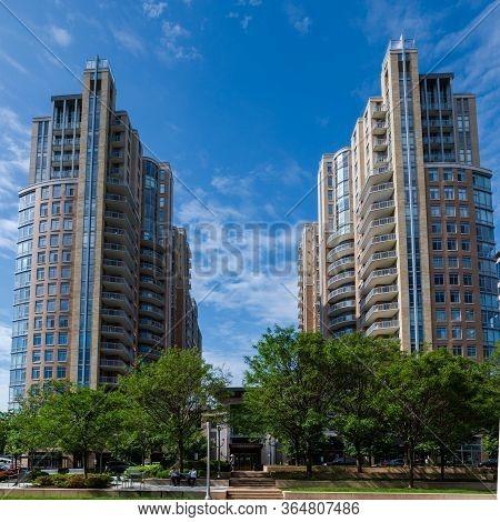 Reston, Va, Usa -- May 21, 2019. An Ultra Wide Angle Photo Of A Luxury High Rise Condominium Buildin