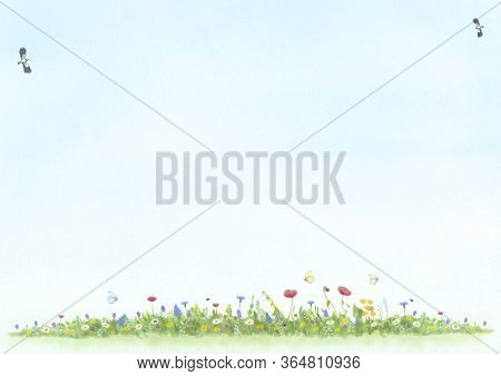 Abstract Illustration, Hand Drawn And Painted View Of Meadow With Wild Flowers, Birds And Butterfly,
