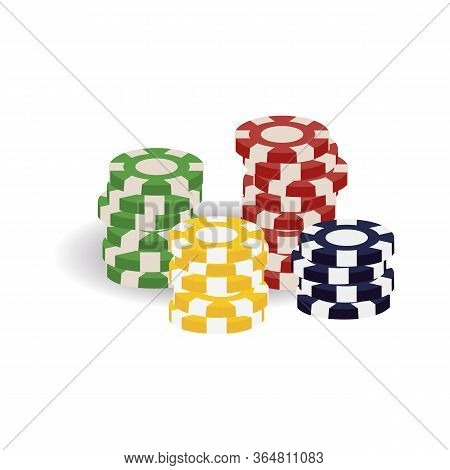 Colorful Realistic Casino Tokens, Gaming Cheques, Or Checks For Table Game Of Chance, Gambling (blac